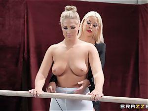 lesbos Bridgette B and Val Dodds heavy cootchie slurping after ballet