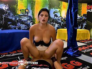 German Goo gals Alice lovely black-haired little jizz woman