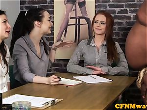 audition CFNM female agent stroking black man sausage