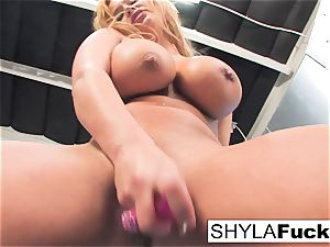 Shyla gives you a cool disrobe and solo