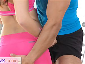 FitnessRooms Gym tutor pulls down her yoga trousers