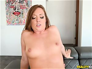 cum drinking trunk sucker Maddy OReilly sits her beaver on a phat penis