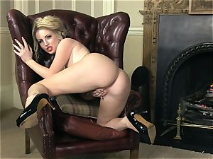 chubby breasted Georgie Lyall gets nude to play alone