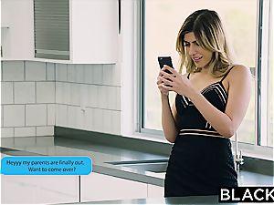 Arab damsel Audrey Charlize enjoys the taste of a big black cock