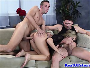 red-hot platinum-blonde buxom cougar threesome penetrate