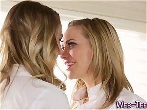 Uniformed teenage slurps vulva
