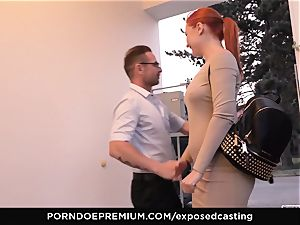 unsheathed audition - small Russian redhead rockets hard
