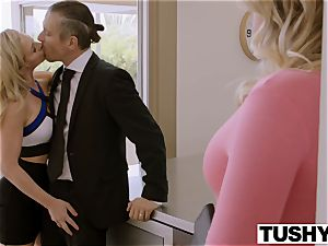 TUSHY Blair Williams Has A torrid ass fucking Lesson 3 way With Her chief