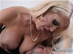 busty platinum-blonde Alura Jenson likes a man in uniform