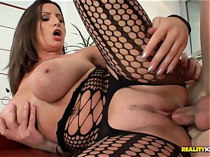 massive boobied sensuous Jane plumbs in fishnet