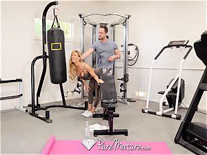 PUREMATURE Sexual training gym penetrate with milf