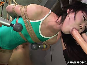 asian trussed up to be sexually tormented by some freaks