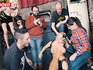 busty blond gets xxx tearing up in bondage party