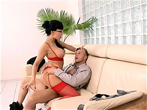 wild secretary penetrated on a couch in lingerie