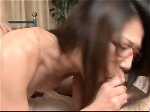 Mizuki Ogawa gets over sized pecker to drill her hairy hol