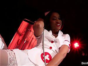 supah torrid nurse skin Diamond gives a jaw-dropping tease