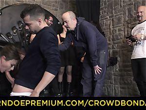 CROWD restrain bondage - extraordinary bondage & discipline screw wheel with Tina Kay