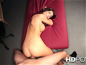 HD point of view super-hot dark-haired with meaty breasts luvs to juggle manstick