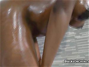 huge-chested dark-hued hottie Lola lubed to deepthroat lollipop