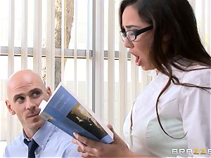 Top student Karlee Grey gives presentation on a sybian saddle
