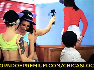 CHICAS LOCA - girly-girl strapon lovemaking with Spanish bombshells