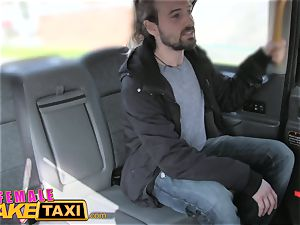 woman faux taxi handsome driver gets some schoolgirl man-meat