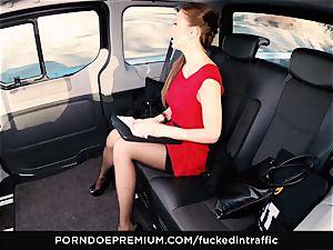 plowed IN TRAFFIC Tina Kay footjob in the backseat