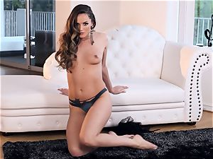 Tori dark-hued thumbs her cooter till she climaxes