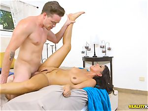 nasty real estate agent Sophia Leone sticks a customers chisel in her facehole