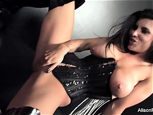 two big-chested Brunettes Take on massive pipe Together