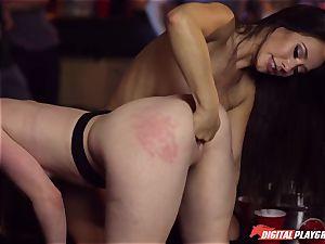 Red-headed tramp Ella Hughes and fatal dark-haired Eva Lovia have fuckfest in a nightclub