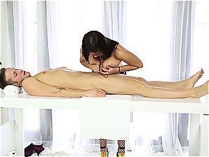 wonderful massagist tugging shy fellow