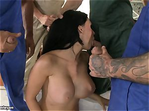 nasty paramour Aletta Ocean takes one trouser snake at a time dipping steaming in her gullet
