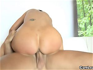 huge-titted Jasmine Jae railing a gigantic trouser snake with her mounds out