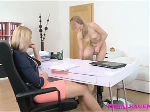 FemaleAgent handsome blondes make each other jizm