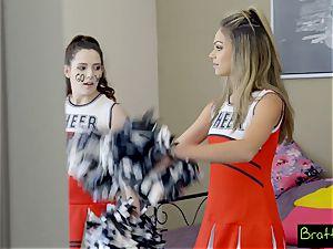 teenage cheerleader pokes her stepbrother