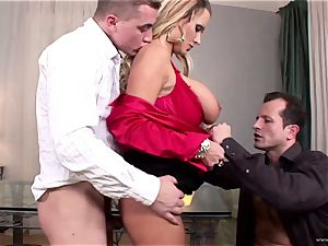 huge-boobed stunner Sharon pink gets her jaws plunged with manhood