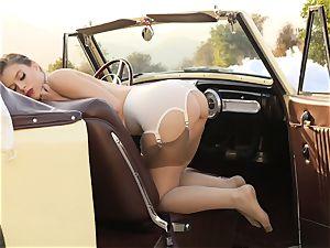 Lana Rhoades vintage car slit have fun