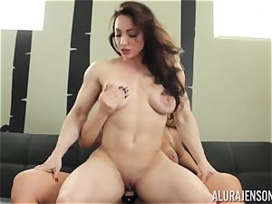 Alura Jenson labia filled with strap dildo strenuous muscled woman Brandi May