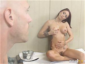 Monique Alexander pokes her employee in a sauna