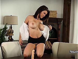 huge-boobed Peta Jensen tears up herself to quivering ejaculation