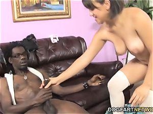 Callie Dee Has body jiggling ejaculation From humungous black schlong