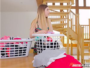 honeypot pawing super-cute Eva Lovia and Stella Cox messing in the laundry
