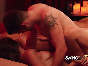 plump couple engage in hot bang-out in the douche before partying