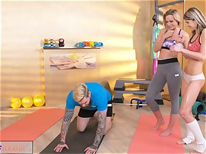 sport apartments nasty chicks entice yam-sized jizz-shotgun gym trainer
