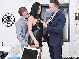 slutty nymph boned by 2 businessmen
